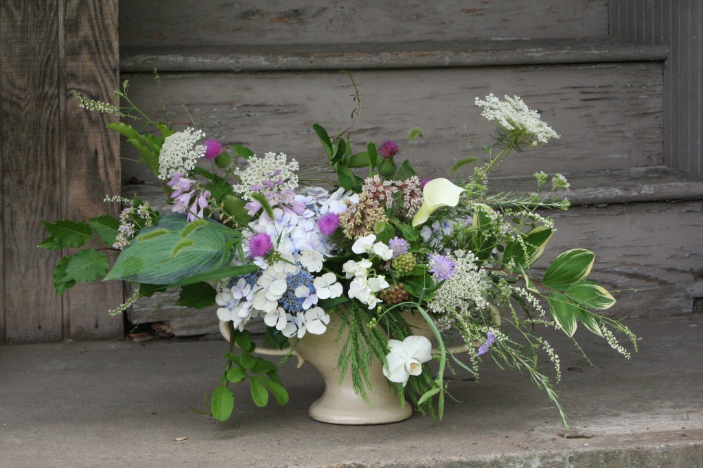 Garden and collected flowers