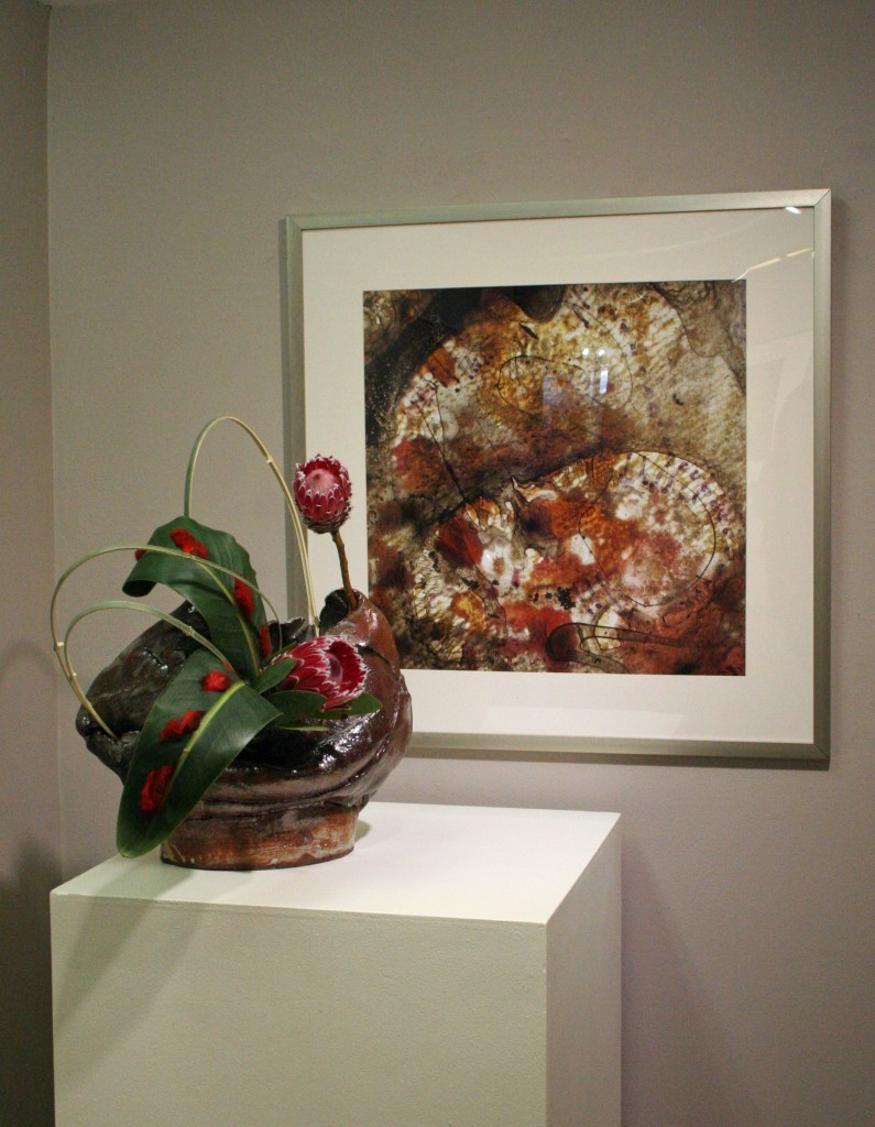 Ceramic container by Carla Amerau, framed photography by Erin Tetterton