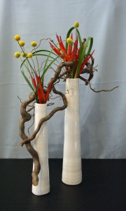 Contorted Filbert Branches, Pencil Heliconia,Craspedia, and Typha Leaves