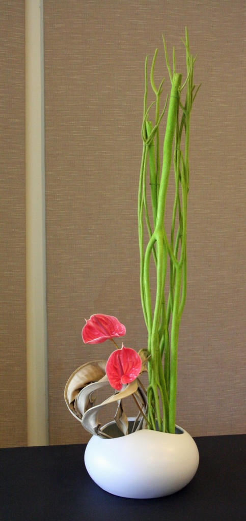 Flocked Mitsumata Branches, Anthurium and Dried Strelitzia Leaves